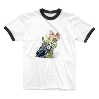 レノンくんーバイクでかっ飛ばすVer Ringer T-shirts