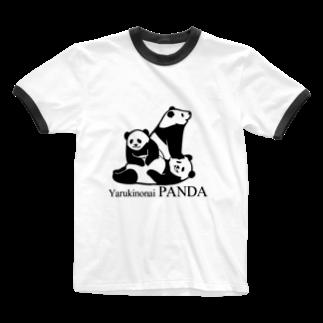 なかむらけんたろうのやる気のないパンダ だらだら Ringer T-shirts