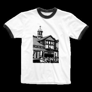 気ままに創作 よろず堂のありがとう原宿駅(切り絵風・枠無し) Ringer T-shirts
