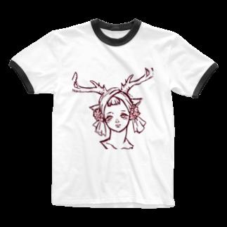 ℃星の鹿の女の子。 Ringer T-shirts