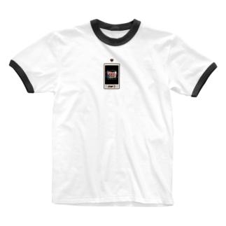 チェキ風黒茶 ハート Ringer T-shirts