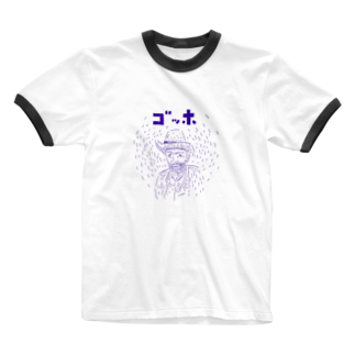 NIKORASU GOのダジャレデザイン「ゴッホ」 Ringer T-shirts