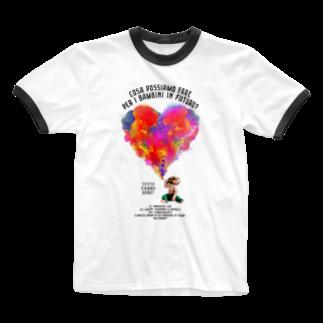 UNIREBORN WORKS ORIGINAL DESGIN SHOPのCOSA POSSIAMO FARE PER I BAMBINI IN FUTURO? Ringer T-shirts