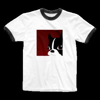 m0chAの鼻ぺちゃルーくん Ringer T-shirts
