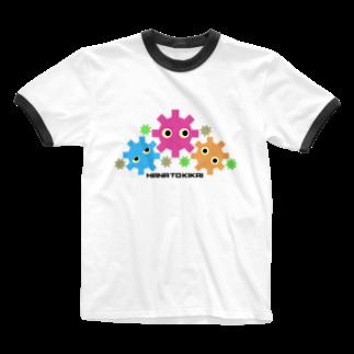 柏木公宰のオリジナルグッズの花とキカイ Ringer T-shirts