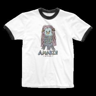 無彩色デザイン販売所のChildren's Art / AMABIE アマビエ Ringer T-shirts