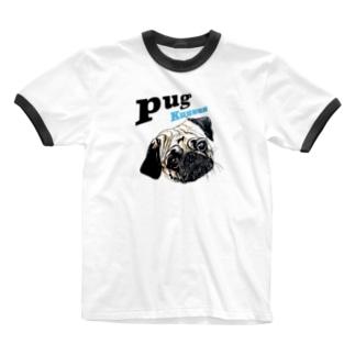パグの泣き声 Ringer T-shirts