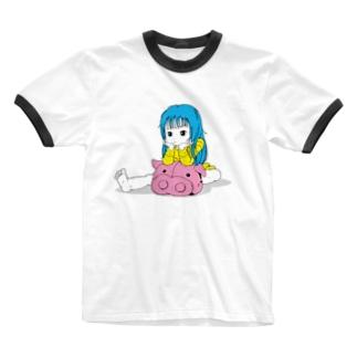 ブーたれ子 Ringer T-shirts