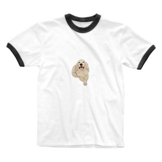 harukasatoの犬 dog ゴールデンレトリバー Ringer T-shirts