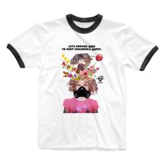 「LET'S ENDURE NOW TO KEEP CHILDREN'S HOPES」 Ringer T-shirts