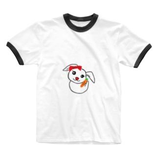 にんじんを持つうさぎちゃん Ringer T-shirts