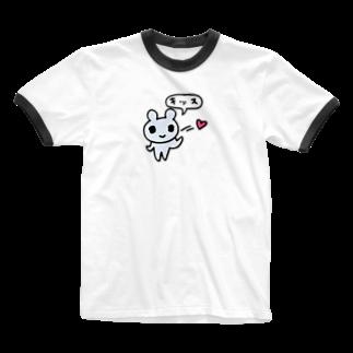 ねこりんストア Nekorin Storeのキッス Ringer T-shirts