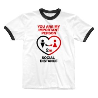ソーシャルディスタンス Ringer T-shirts
