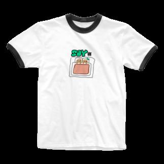 emonariのSOY寝 Ringer T-shirts