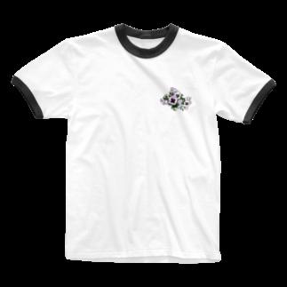 Minami Kawatoのみちばたのパンジー Ringer T-shirts