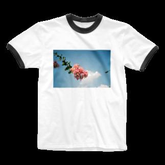 かぴばらのFLOWERS-そら- Ringer T-shirts