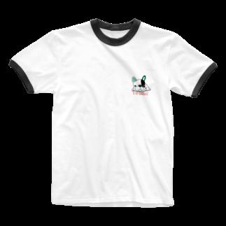 peacefulのグデフレ君 Ringer T-shirts