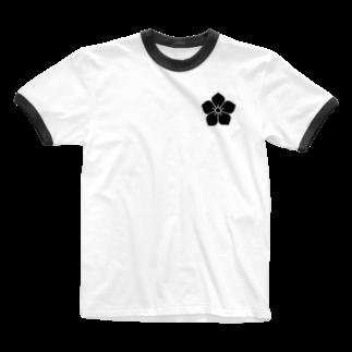 家紋・漢字ショップの明智家の家紋(桔梗) Ringer T-shirts