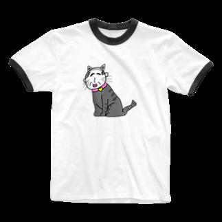 DXのワンダフルランドのねこ親父 Ringer T-shirts