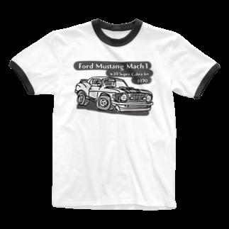 ばんやのマスタングモノトーン Ringer T-shirts