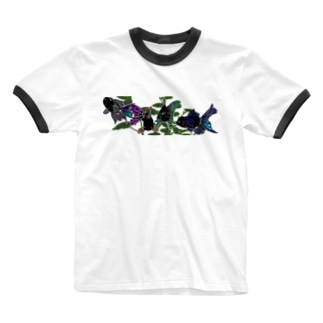 黒オランダ獅子頭 Ringer T-shirts