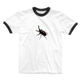 ニジイロクワガタ ダークレッド Ringer T-shirts