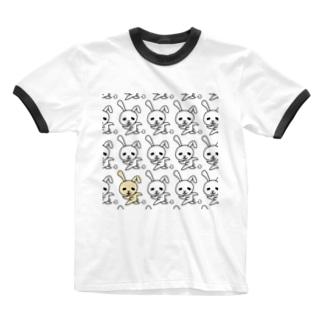 Bar プカプカの追われるウサギダットちゃん Ringer T-shirts