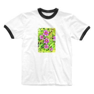 道端の花 ニワゼキショウ(カラフル) Ringer T-shirts