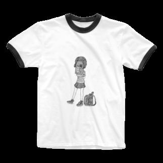 UME_UMEの名札ちゃん Ringer T-shirts