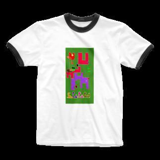 monmarispaceのテクとテカの2匹でお散歩 Ringer T-shirts