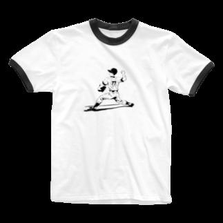 momo_ancoroの野球少年しんくん Ringer T-shirts