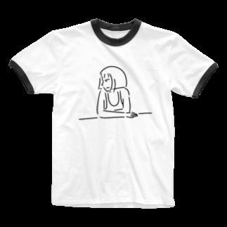 Aliviostaのショートボブガール 4 イラスト Ringer T-shirts