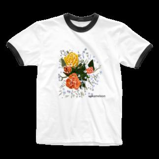 Wakameleonのオレンジ お花 Ringer T-shirts