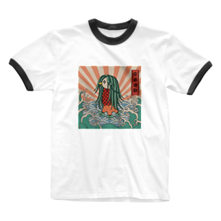 Kitsune honpoのアマビエー疫病退散 Ringer T-shirts
