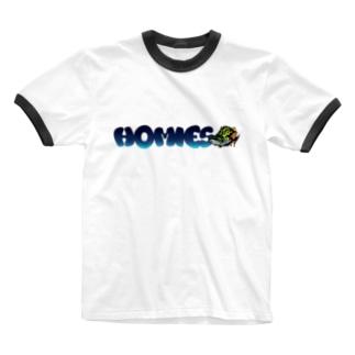 BASSHOMIES(バスホーミーズ)グラフィティロゴ ブラックバス バス釣り Ringer T-shirts