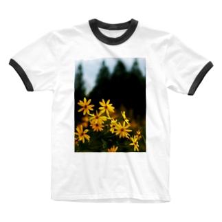 菊芋と樹木 DATA_P_139 tree Ringer T-shirts