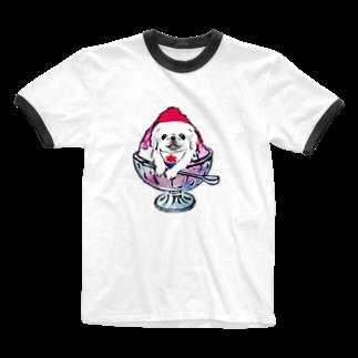 犬グッズの店しえるぶるーのかき氷ワンちゃん 氷イチゴ ペキニーズ ホワイト Ringer T-shirts