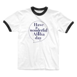 吹き出しロゴ Have a wonderful Aloha day142(NAVY) Ringer T-shirts