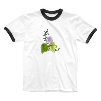 花飾り Ringer T-shirts