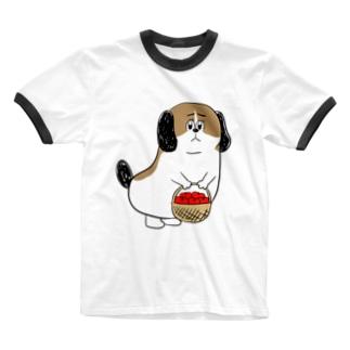 もじゃまるお見舞い Ringer T-shirts