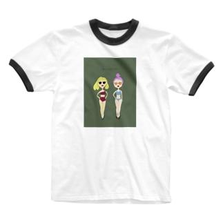 夏の水着の女の子その2 Ringer T-shirts