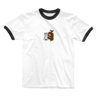 ネコピアノwithヨゲンノトリ Ringer T-shirts