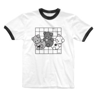 モノトンくまころりん Ringer T-shirts