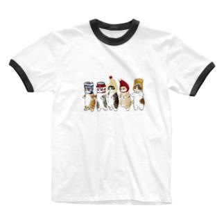 かぶりもの猫 Ringer T-shirts