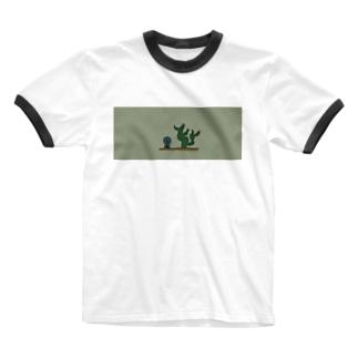 サボテンになりたいウクレレ Ringer T-shirts