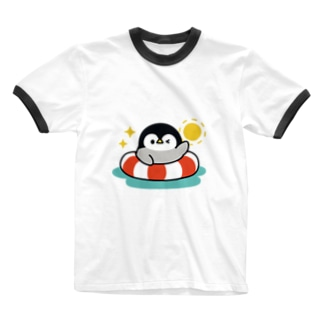 心くばりペンギン 夏ver. Ringer T-shirts