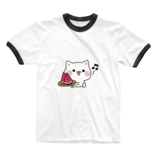 気づかいのできるネコ スイカver. Ringer T-shirts