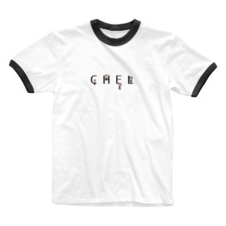 CHELくんオールスター(黒字) Ringer T-shirts