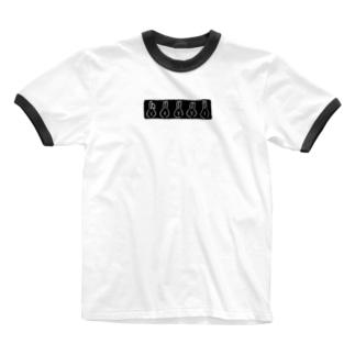 うささんズ 黒プリント Ringer T-shirts
