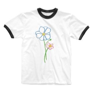 シュウメイギク Ringer T-shirts
